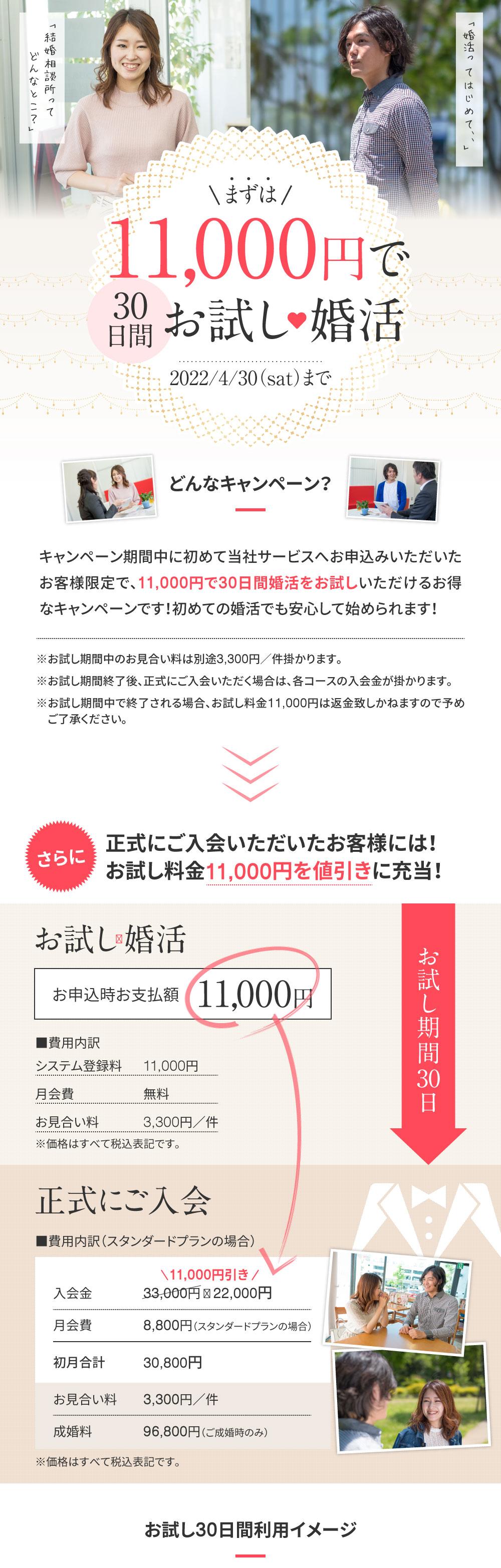 10,000円で30日間お試し婚活